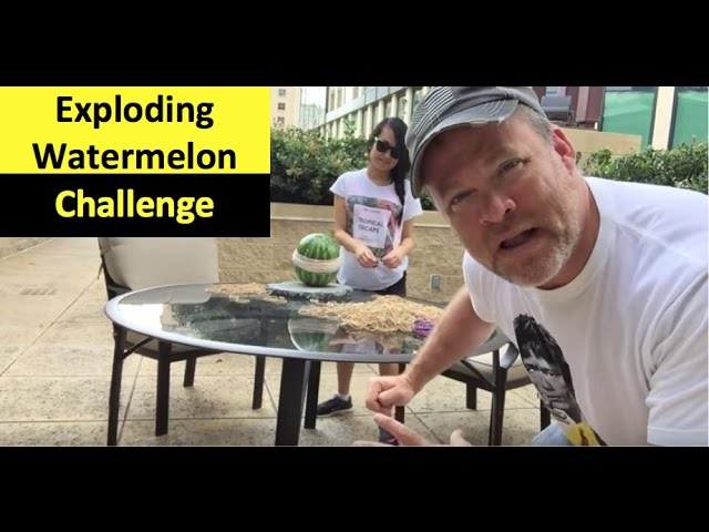 Exploding watermelon with rubber bands a science experiment
